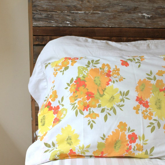 Vintage Standard Pillowcase - Orange, Red, Yellow, Green Floral