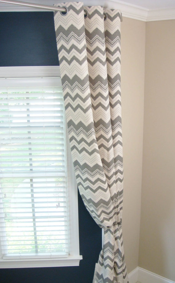 Gray Natural Beige Linen Birch Ikat Zig Zag Chevron Zazzle Curtains - Grommet - 84 96 108 or 120 Long by 25 or 50 Wide - Optional Blackout
