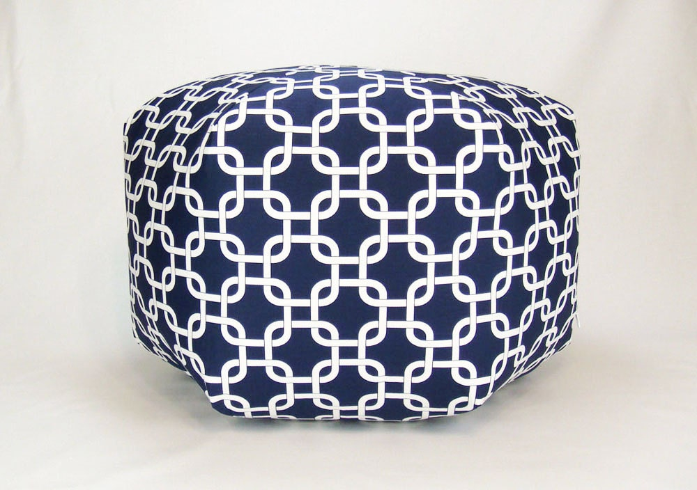 24 Floor Ottoman Pouf Pillow Navy Blue Amp White By Zeldabelle