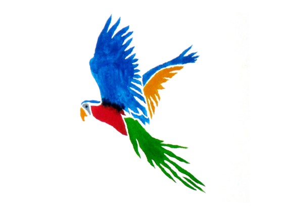 Macaw parrot wall stencil. Nursery stencils, wall art for childrens bedrooms