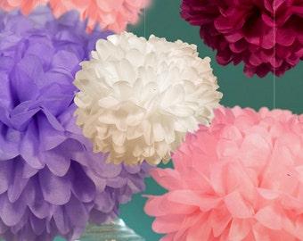 Set of 10 Tissue Paper Pom Poms - Choose your Colors