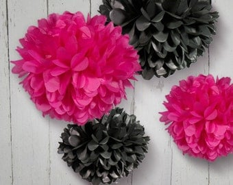 Tissue Paper Pom Poms in Hot Pink and Black - Set of 4 Poms - More colors available