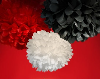 Tissue Paper Pom Poms in Red, Black and White Set of 3 - Choose your Colors
