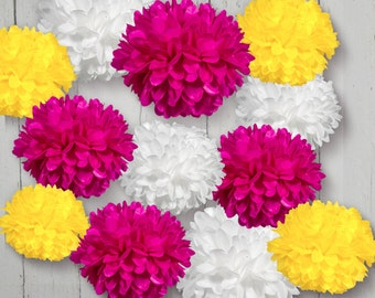 Tissue Paper Pom Poms Set of 12 - Choose your Colors