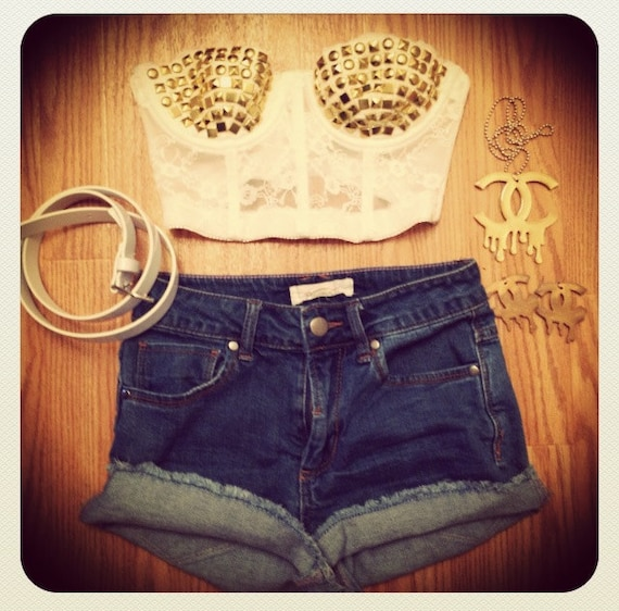 White Gold Studded Bustier Crop Top Size Small