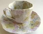 Papier Mache Teacup and Saucer with Dried Flowers