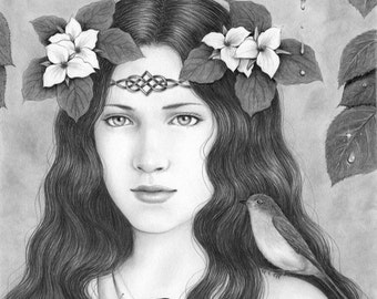 Lady of the Forest - 8X10 original pencil drawing - Free shipping