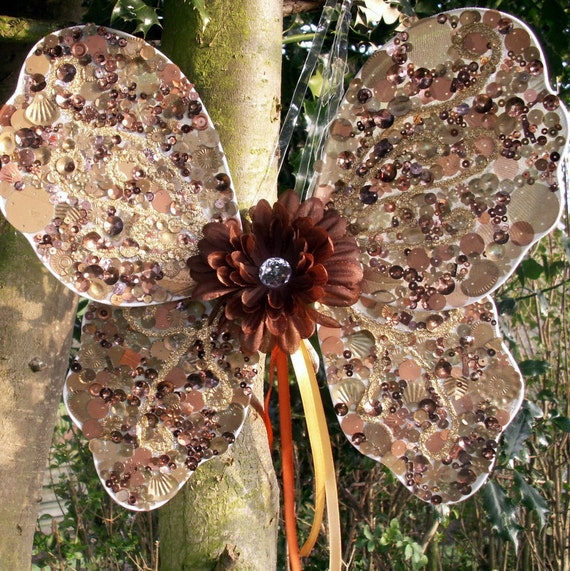 Adult fairy wings, copper / chocolate brown faerie costume, kids dress up, cosplay, woodland wedding, flowergirl, teen, child