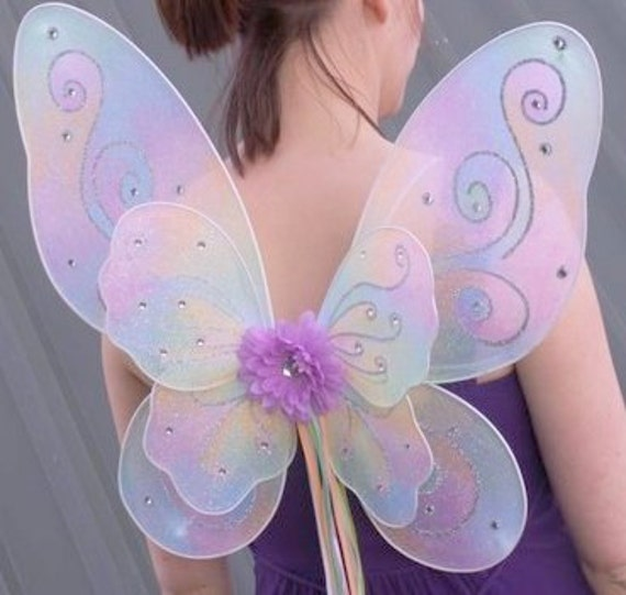 Fairy Wings, Large Pastel Rainbow  Costume Wings, adult, teen, child dress up, fairy princess, fantasy cosplay