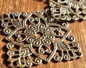 20 x Antique Brass Bronze Filigree Wraps Brass Focals Square 31mm