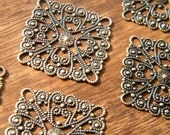 20 x Antique Brass Bronze Filigree Wraps Brass Focals Square 28mm