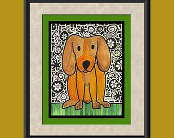 Funky Puppy Giclee Print from Original Artwork
