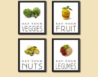 Healthy Diet Eat Your Good Foods Kitchen Art Decor DIGITAL PRINTS Set of Four 8 x 10s
