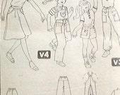vintage Simplicity 5519 girl overall jumpsuit culotte pants shorts shirt top size 8 UNCUT