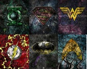 Justice League Series 24x30 Gallery Wrapped Canvas Prints (Set of 6)