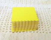 25 Die Cut Scalloped Squares - Handmade Punched from Heavy Cardstock - Big Bird Yellow - Scrap Booking - Card and Art Project Supplies