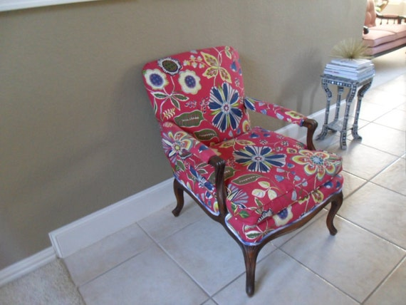 SALE Country French Floral Chair with Contrast Stripe Back