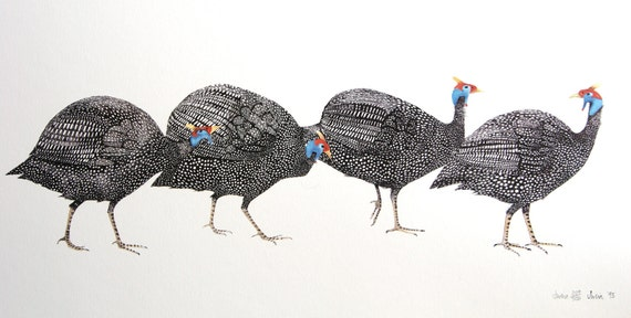 Guinea Hens.   Limited edition lithograph print