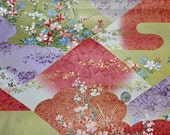 Sateen Asian Abstract and Flowers - Fabric By The Yard