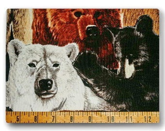 Bears Version 2 - Fabric By The Half Yard 18 inches x 44 inches