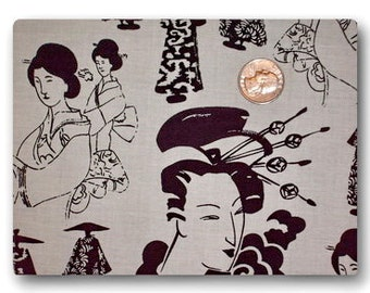 Black and White Geisha - Fabric By The Yard