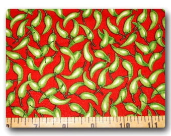 LIttle Green Peppers on Red - 18 inches x 22 inches