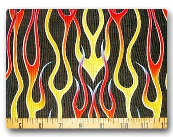 Long Rainbow Flames on Black - Fabric By The Yard
