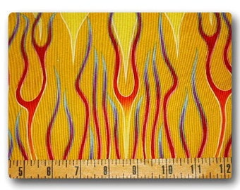 Long Rainbow Flames on Yellow - 18 inches x 22 inches