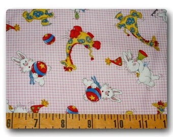 Suzy's Zoo on Pink Gingham - Fabric By The Yard