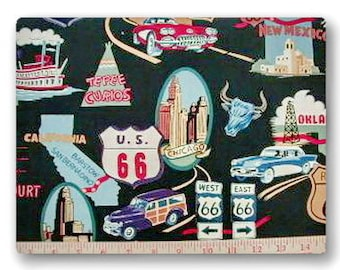 Retro Route 66 - Fabric By The Yard