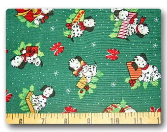 Christmas Dalmatian on Green - Fabric By The Yard