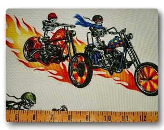 Skeleton Bikers on White - Fabric By The Half Yard 18 inches x 44 inches
