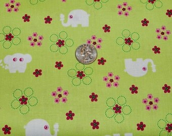 Elephants on Green by Quilting Treasures - Fabric By The Yard