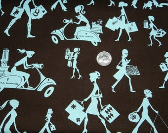 Shopping Girls on Brown by Michael Miller - Fabric By The Yard