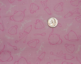Tossed Tea Cup on Pink - Fabric By The Yard  - H