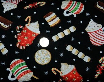 Christmas Morning Coffee Break - Fabric By The Half  Yard 18 inches x 44 inches