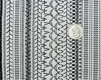 Black Stitches on White - Fabric By The Yard