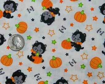 Trick or Treat Kitty - Fabric By The Half Yard 18 inches x 44 inches - H