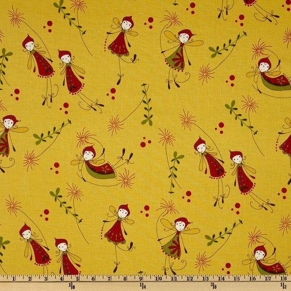 Woodland Flying Fairies on Yellow - Fabric By The Half Yard 18 inches x 44 inches - H