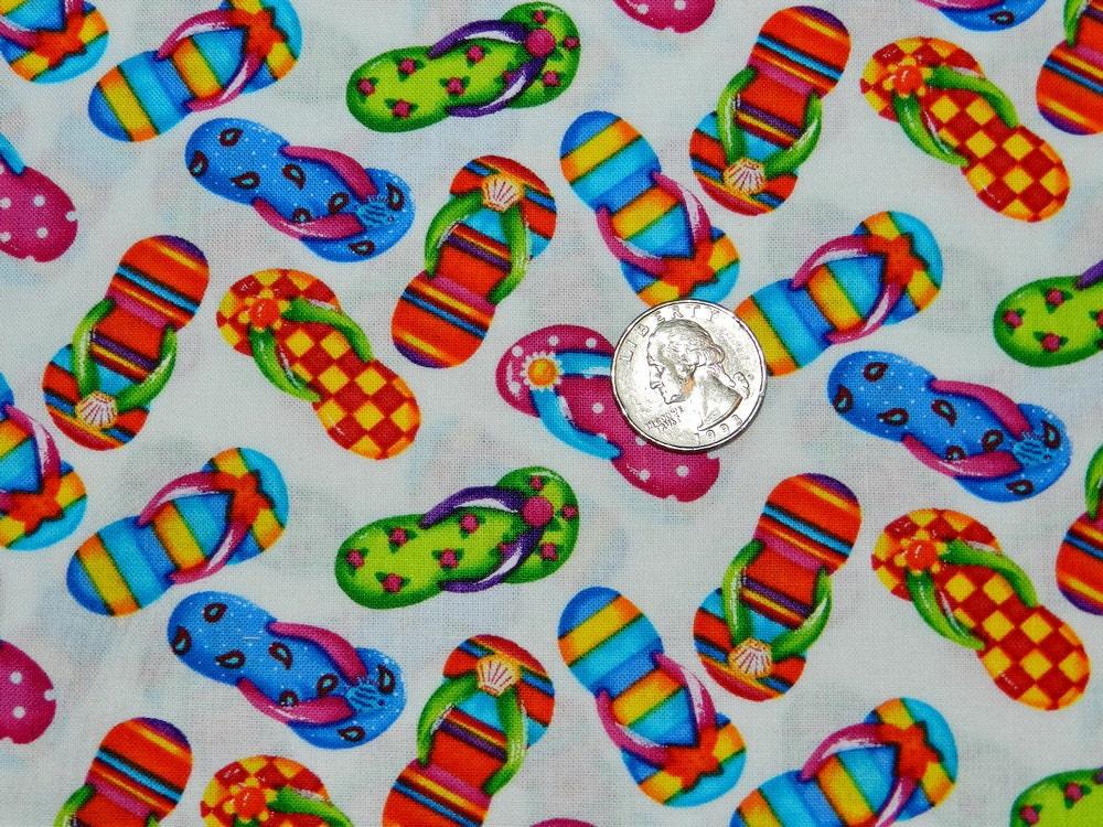 Rainbow Flip Flop Fabric By The Yard