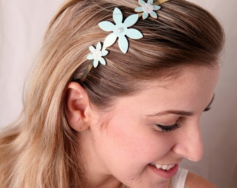 Light blue headband, Flower headband, Women hair accessory, Girl hair accessory, Light blue hair accessory, Women headband, Metal headband