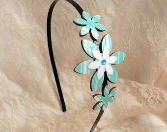 Gift for a girl, Girls headband, Girl birthday gift, Flower headband, Girl hair accessory, Girls gifts, bat mitzvah gift, turquoise headband