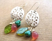 Sterling Silver Dangle Wire Wrapped Earrings with Czech Glass Beads