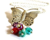 Sterling Silver Butterfly Necklace - Czech Glass Beads - Butterfly Pendant - Wedding Jewelry - Bridesmaid Necklace - Colorful Necklace