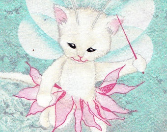 Pixie Kitty Cats Sea Green Woodland Fabric Micheal Miller Teal Mint Pink MOM Pastel FQ