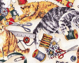 Addicted to Sewing  Scissor Quilting Kittens Cat Fabric Needles and Pins by Hoffman Autumn Fall Yellow Orange FQ