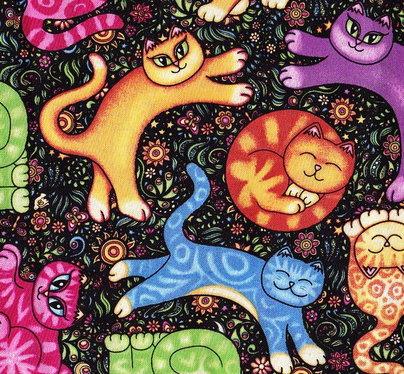 Sew Catty - Colorful Cat Fabric by Dan Morris