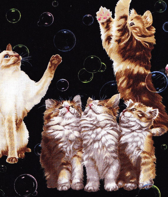 Soap Bubble Cats Cats Playing with Bubbles Cat Fabric - Whiskers and Tails