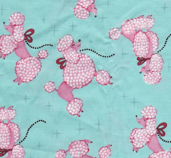 Ooddles of Mint and Pink Poodles Dog Fabric by Micheal Miller