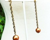 Burnt Orange Swarovski Pearl on Gold Dangle Earrings